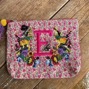 """Anthropologie """"E"""" Monogrammed Embroidered Pouch"""